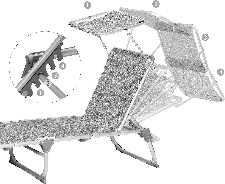 SONGMICS Lettino Prendisole 55 x 193 x 31 cm Max Portata 150 kg Sdraio Pieghevole e Leggera per Giardino Terrazzo Balcone Grigio Melange GCB19TG con Parasole e Schienale Reclinabile