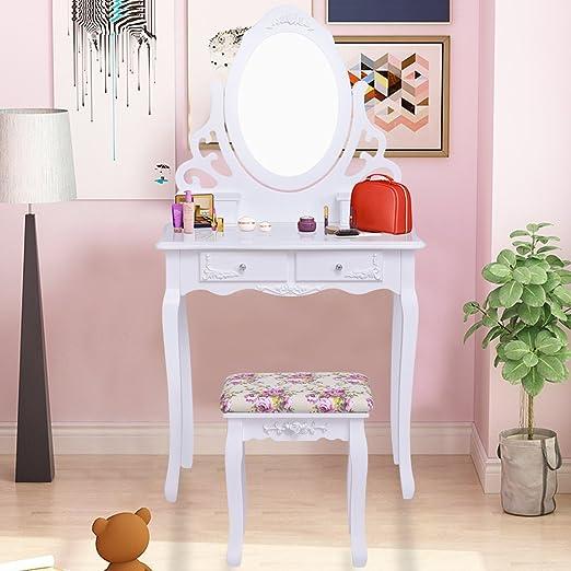 Amazon.com: Giantex White Bathroom Vanity Dressing Table Set Mirror ...