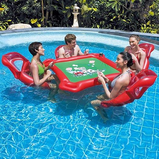 Aegilmc 4 Personas Inflables Isla Lago Flotador, Pool Air Lounge, Tarjetas Juego Mesa Anillo Natación Accesorios Cama Flotante Cerveza Tabla Inflar: Amazon.es: Hogar