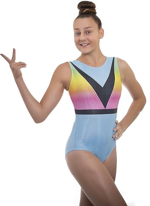 Happy Cherry Girls Long Sleeve Gymnastic Leotard Shiny Spliced Dance Clothes