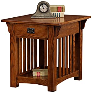 Leick Furniture Mission Drawer End Table, Solid ash and oak veneers