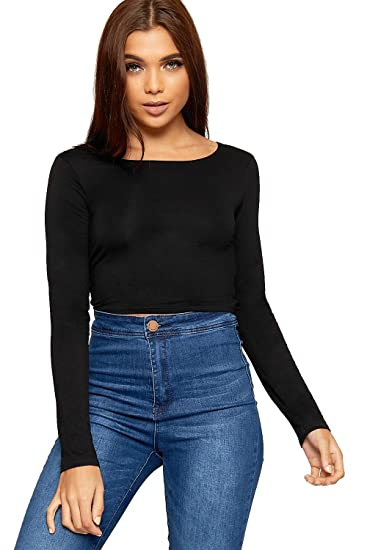 029f6b786a7 WearAll Womens Plain Long Sleeve T-Shirt Ladies Cropped Short Round Neck Top  - Black