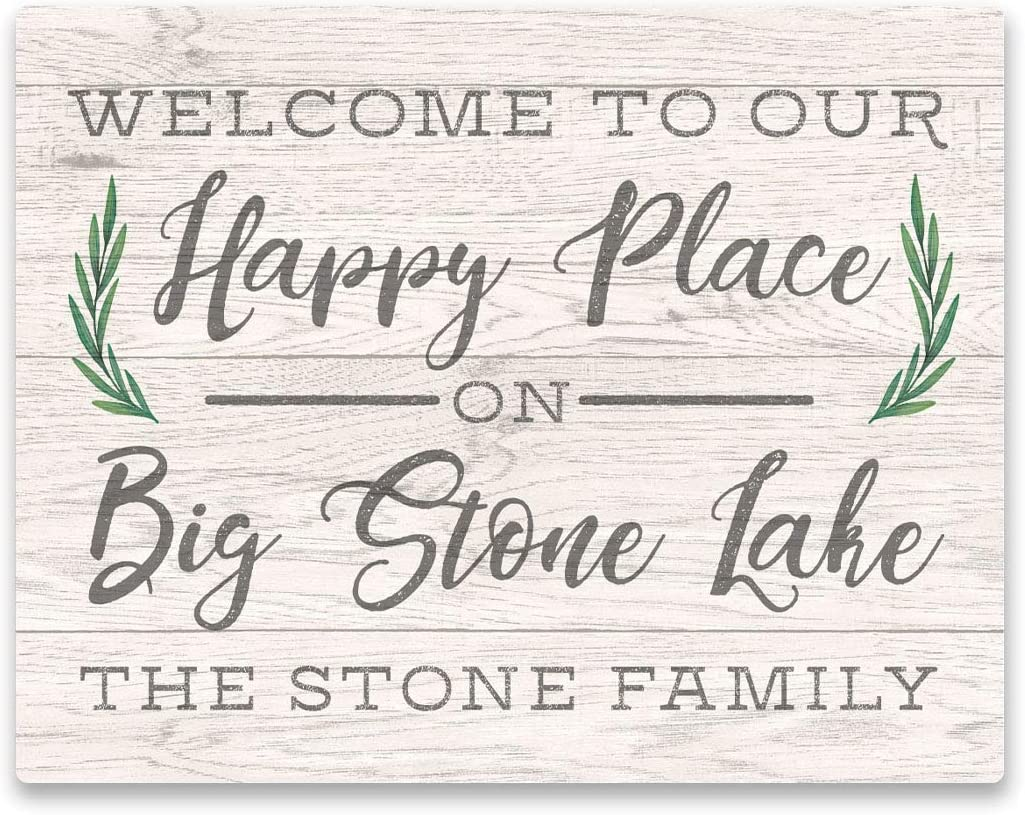 Personalized Welcome to Our Happy Place on Big Stone Lake Wall Art - 11 X 14 Weathered Text and Wood Look on Aluminum Panel