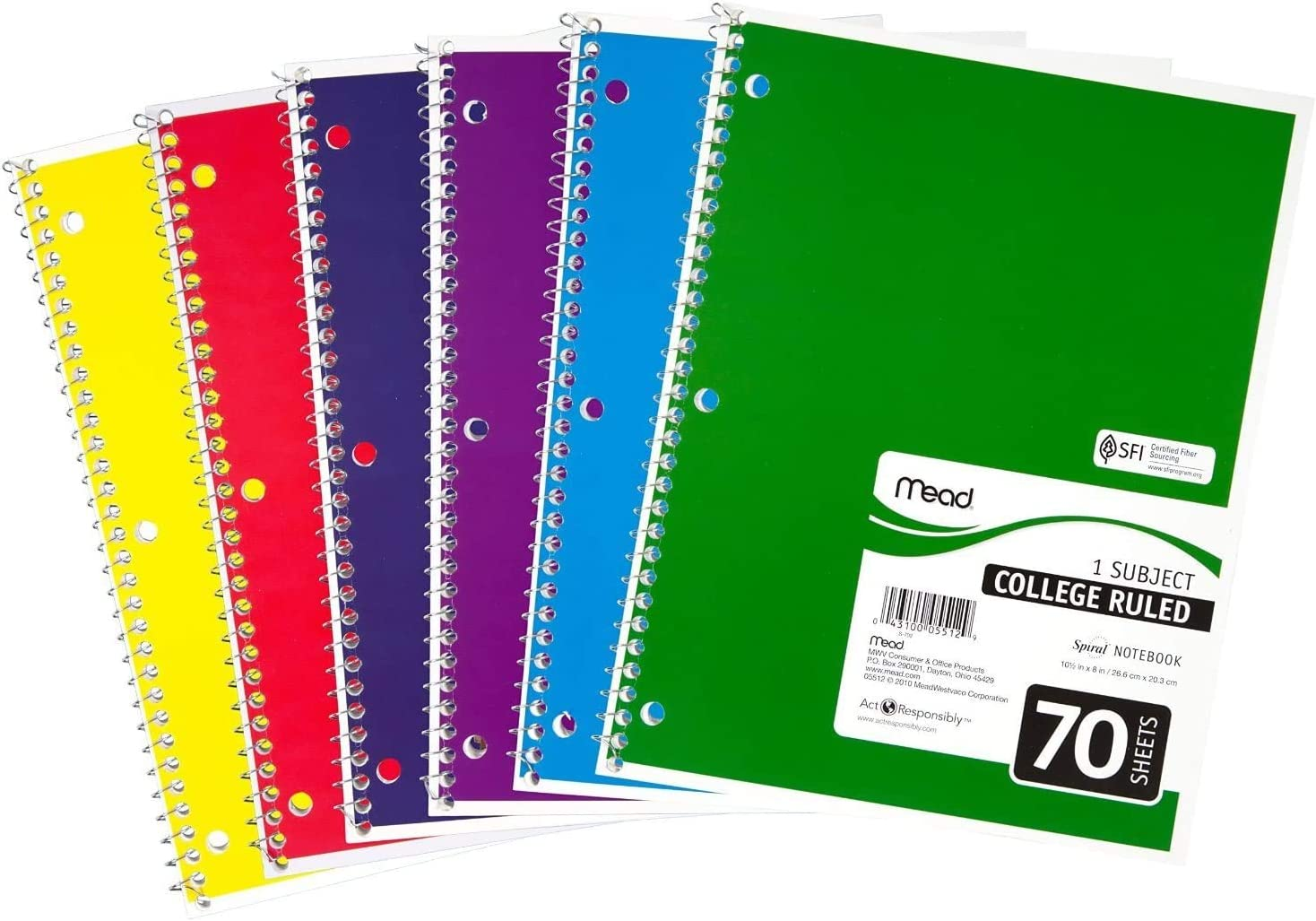 """Mead Spiral Notebooks 1 Subject 10 1//2 x 8/"""" 70 Sheets 73065 Lined Paper Assorted Colors College Ruled Paper Assorted Colors, 0 1 Pack of 6 6 Pack Colored Note Books"""