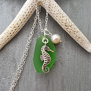 "product image for Handmade in Hawaii,""Emerald green"" sea glass necklace,""May Birthstone"", Seahorse charm, freshwater pearl, (Hawaii Gift Wrapped, Customizable Gift Message)"
