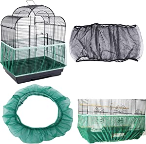 DAWEIF Nylon Mesh Bird Cage Cover Soft Dust-Proof Net Seed Catcher Guard Parrot Bird Cage Cover Accessories(M Black)
