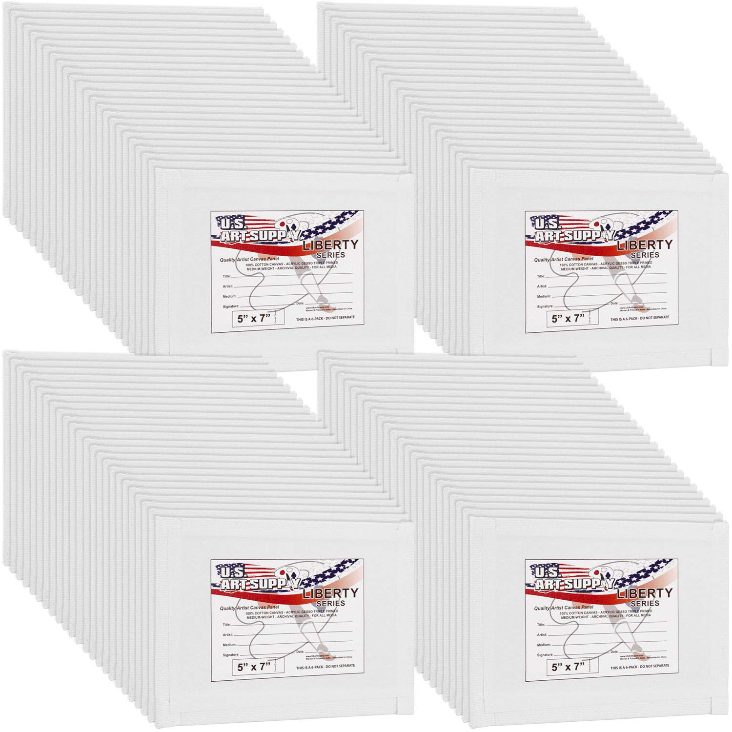 US Art Supply 5 X 7 inch Professional Artist Quality Acid Free Canvas Panels 8-12-Packs (1 Full Case of 96 Single Canvas Panels) by US Art Supply