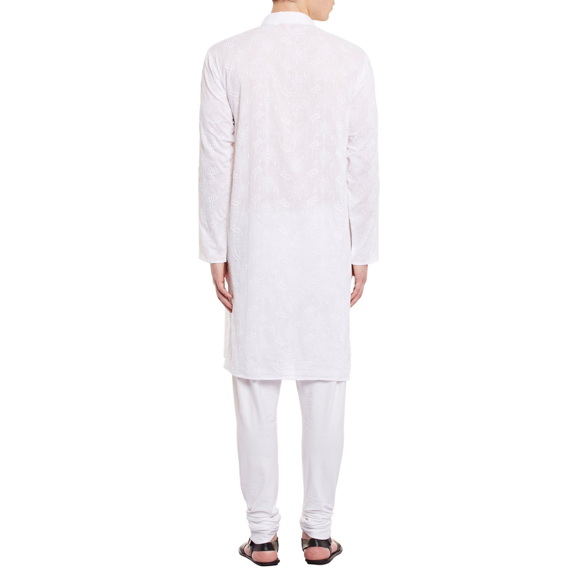 ShalinIndia Mens Embroidered Cutwork Cotton Kurta With Churidar Pajama Trousers Machine Embroidery,White Chest Size: 42 Inch by ShalinIndia (Image #2)