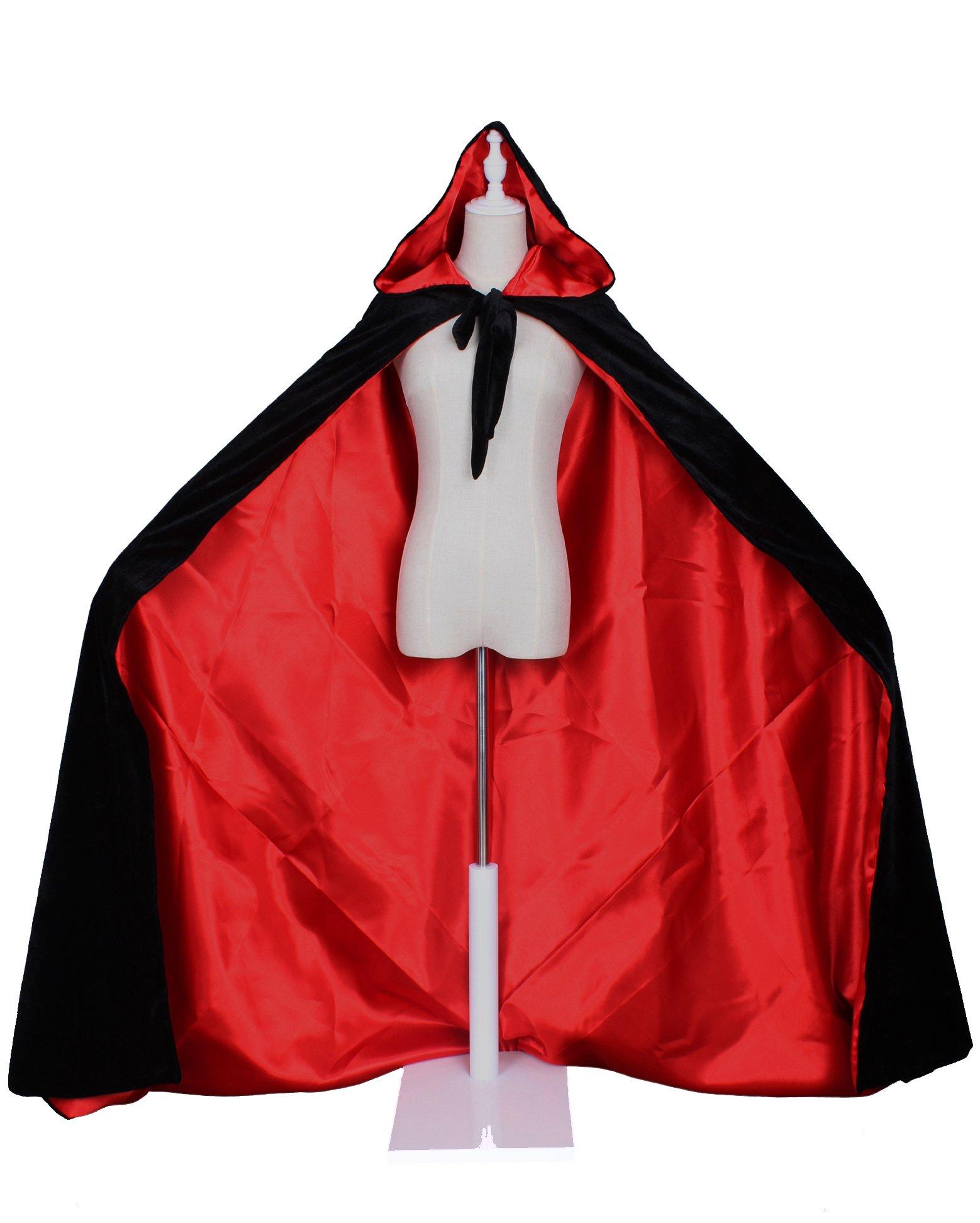 LuckyMjmy Velvet Renaissance Medieval Cloak Cape lined with Satin (Medium, Black-Red)
