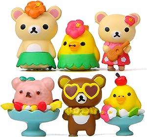 Miniature Bear Figurines, 6 Pcs Cute Bear Toy Figures Cupcake Cake Toppers Fairy Garden Dollhouse Bonsai Micro Landscape Christmas Decor