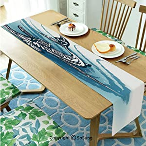 "Shark Table runner for Farmhouse Dining Coffee Table Decorative,Hammerhead Fish with Ornamental Ethnic Effects Swimming Ocean Image 14""x60"" Polyester linen Tea Table Runner,Dark and Petrol Blue White"