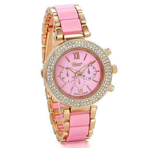 JewelryWe Precioso Relojes de Moda, Correa Rosa con Acero, Diamantes de Imitación Brillantes, 3 Ojos Decorativos, Lujoso Reloj de Mujer: Amazon.es: Relojes
