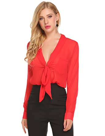 84f82a9a55a Zeagoo Women s Summer Long Sleeve V Neck Tie Front Tops See Through Shirt  Casual Blouse