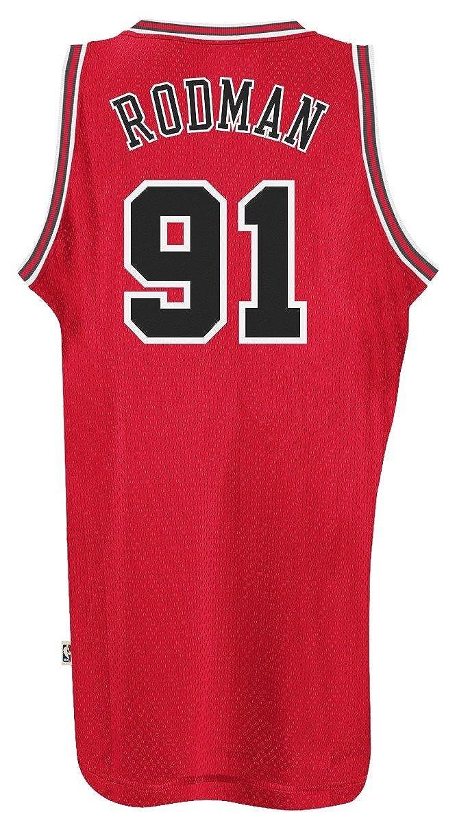 3ac29ea86ba Amazon.com: adidas Chicago Bulls #91 Dennis Rodman NBA Soul Swingman Jersey,  Red: Sports & Outdoors