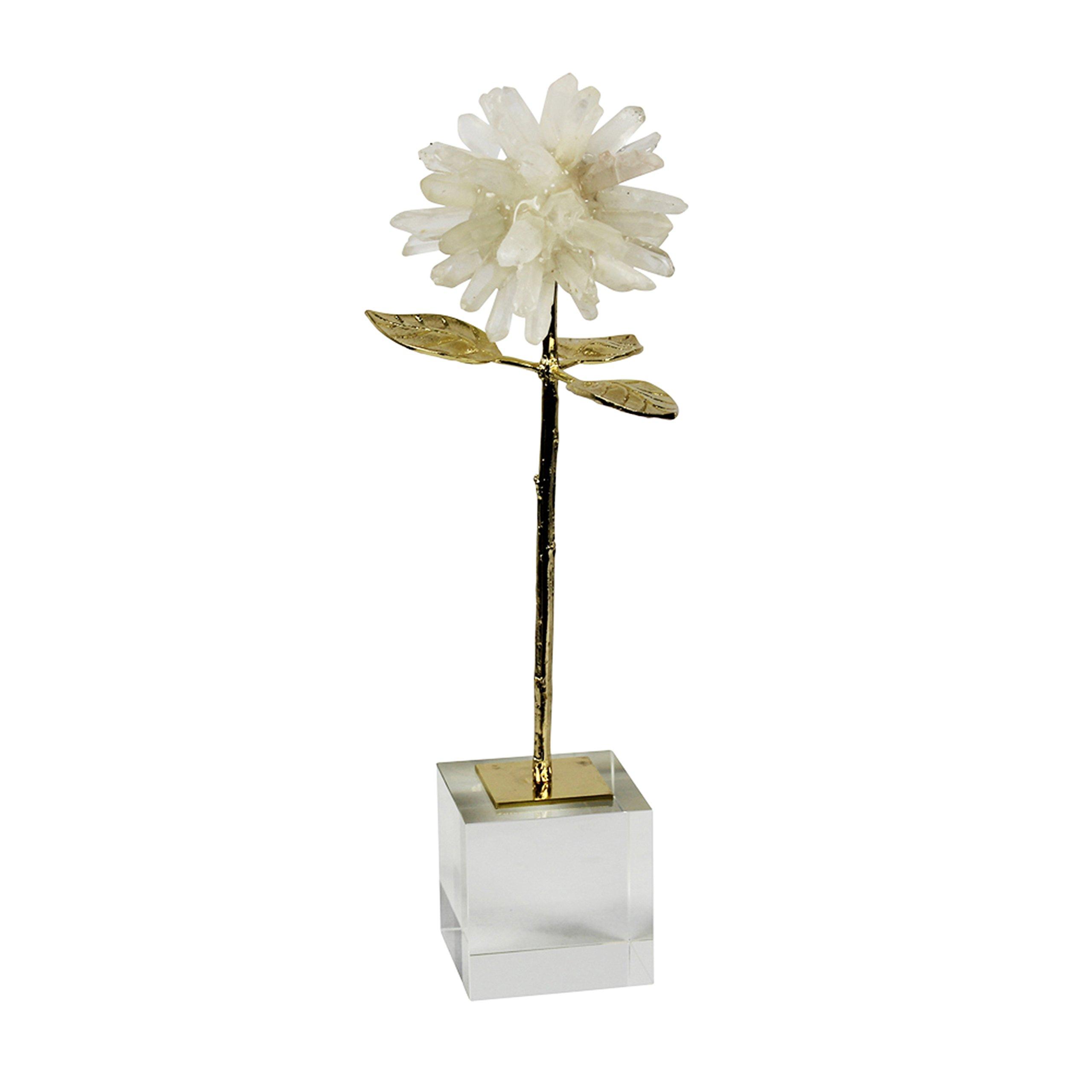 Sagebrook Home Stone & Metal Flower Decor, 5.5x6x15.25, Natural/Gold