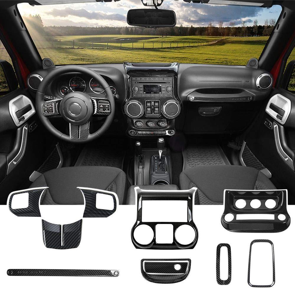 Center Console /& Gear Shift Knobs Frame for Jeep Wrangler JK 2011-2018 18 PCS Carbon Fiber Door Handle /& Steering Wheel Cup Cover /& Air Outlet E-cowlboy Full Set Interior Decoration Trim Kit