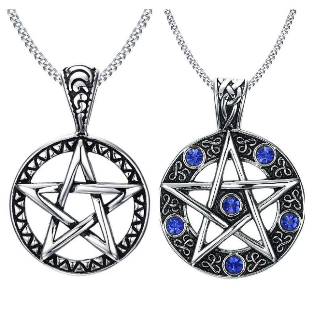 Blowin Stainless Steel Powerful Pentacle Necklaces Pentagram, Wicca Traditional Seal of Solomon Pendant, 23.5 inch Curb Chain (Silver&Blue Style (2pcs))