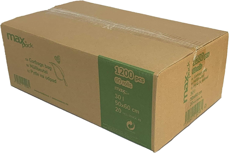 60 Rollen a 20 St/ück in schwarz maxpack/® 1200 St/ück M/üllbeutel M/üllsack 30 Liter