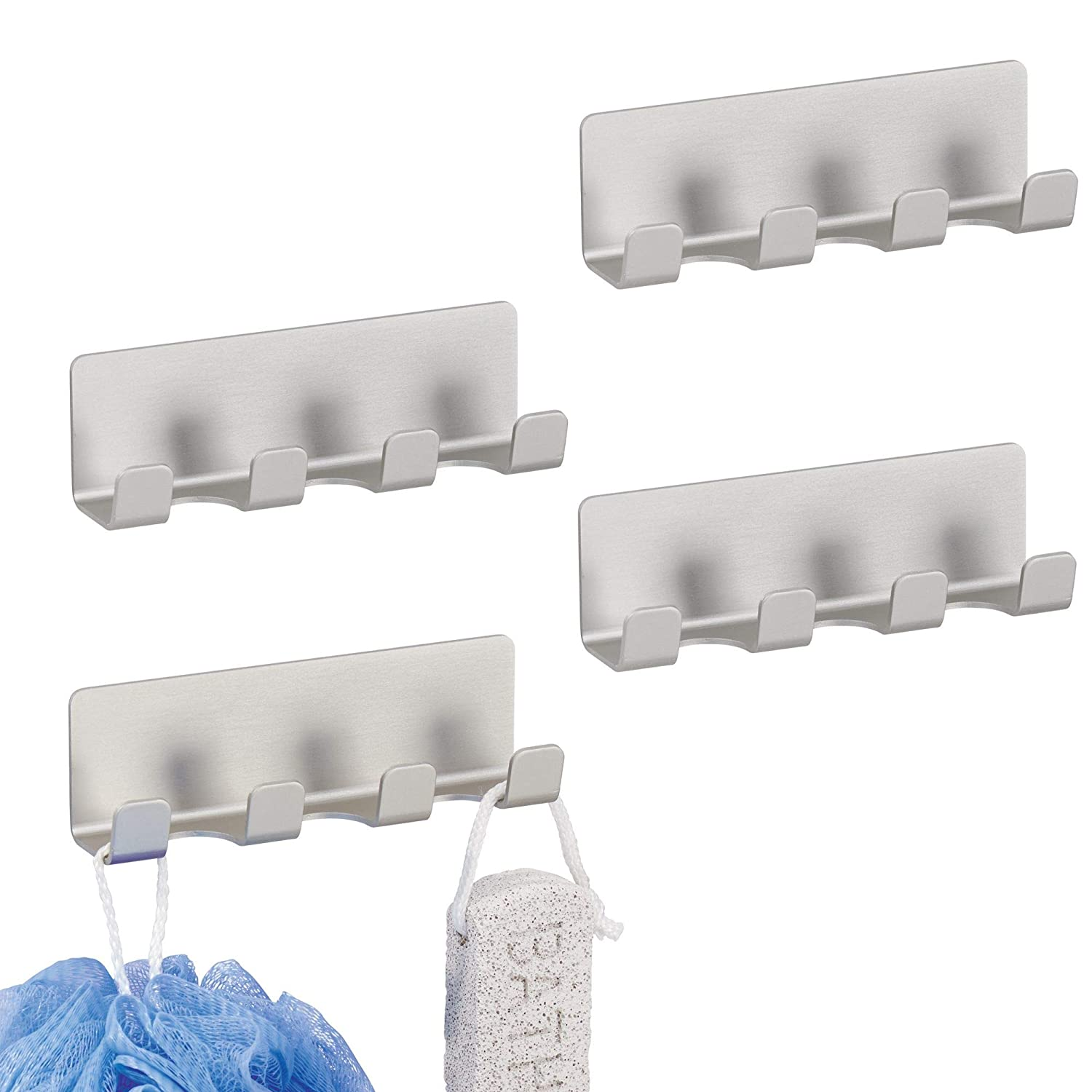 mDesign AFFIXX Strong Self-Adhesive Wall Mount Rustproof Aluminum Metal Bathroom Shower Hooks Racks Organizer for Loofahs, Mens and Womens Razors - Pack of 2, Silver MetroDecor COMIN18JU082570