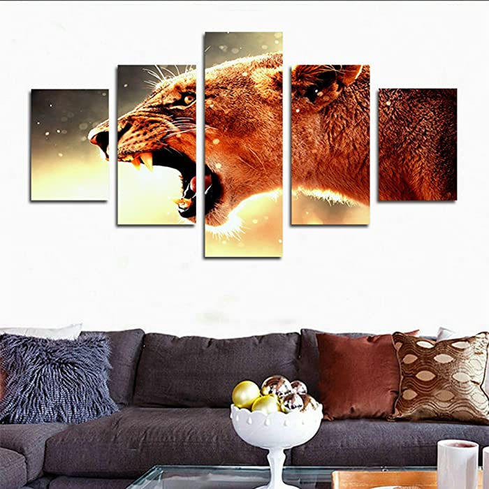 H.COZY 5 Piece Living Room Home Decoration Wall Poster Leopard Fabric Nature Animal Roar Unframed far155 50 inch x30 inch