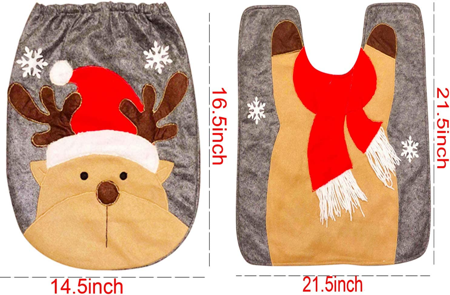Volaremall Christmas Deer Toilet Seat Cover and Rug Set Red Funny Christmas Decorations Bathroom