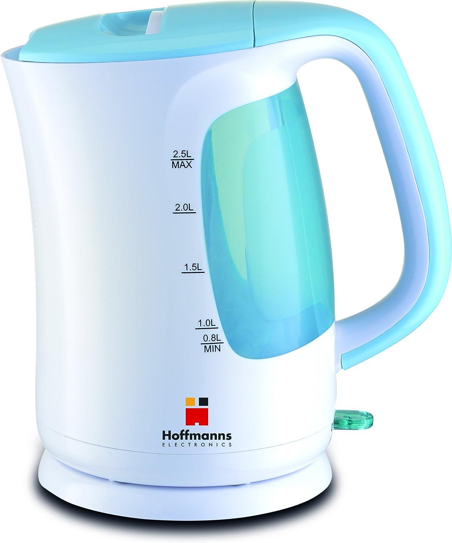 Hoffmanns Wasserkocher 2,5 Liter WeißBlau Kabellos