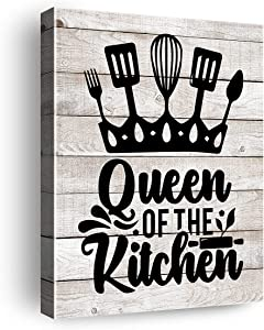 Funny Kitchen Quotes Queen Of The Kitchen Canvas Wall Art , Gift for Woman Kitchen Wall Art & Tabletop Decor, Easel & Hanging Hook 8x10Inch