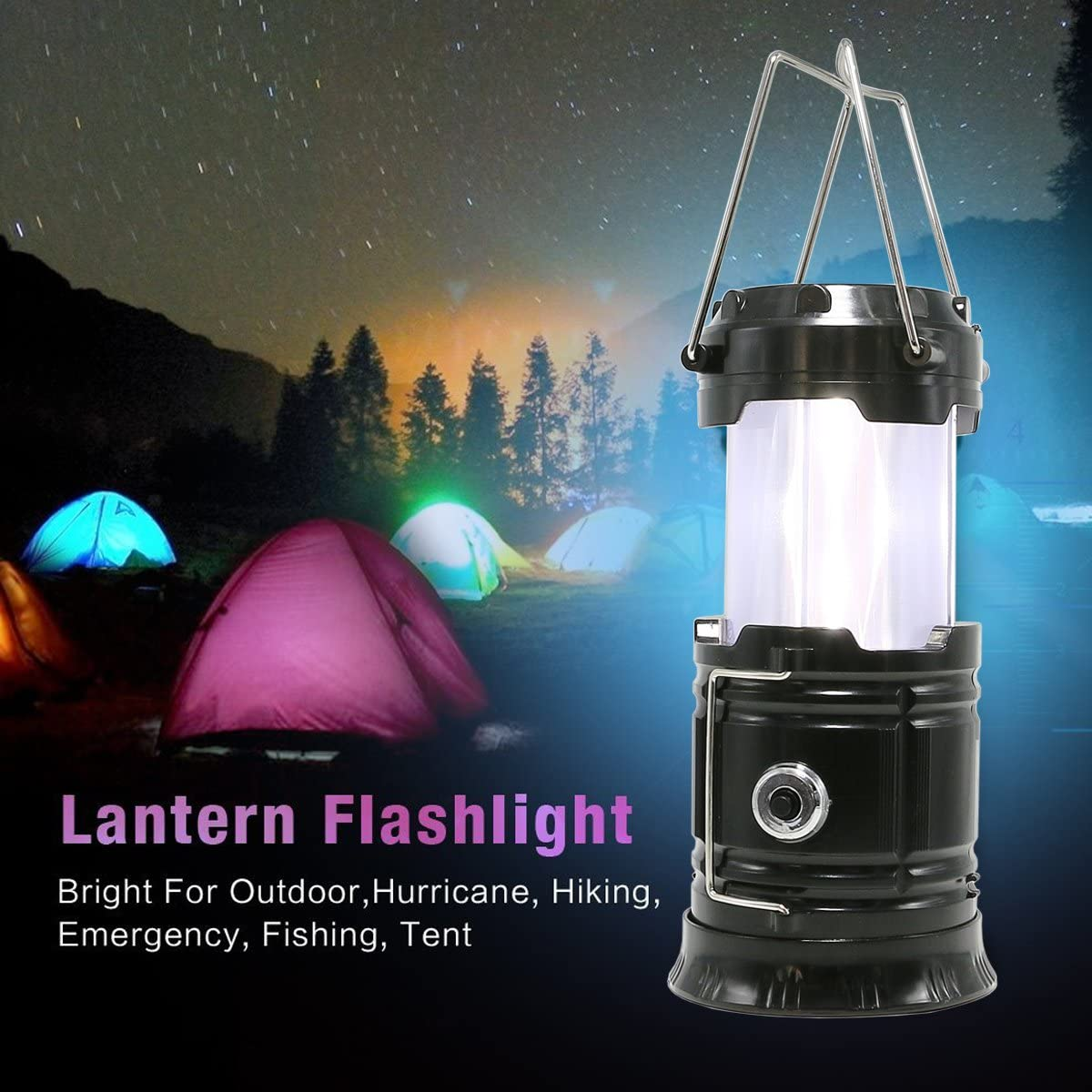 Portable Rechargeable Stage Light Flashlight Flame Effect Lamp Tent Lantern  #UK
