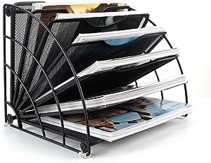 PAG Fan-Shaped Desk File Organizer Mail Letter Sorter Paper Holder Magazine Rack for Office Home School, Black
