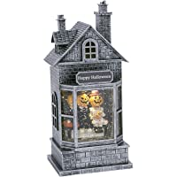 """One Holiday Way Elegant Light Up Animated Haunted House Water Globe with Spinning Halloween Figures €"""" Tabletop Halloween Decoration (Pumpkins)"""
