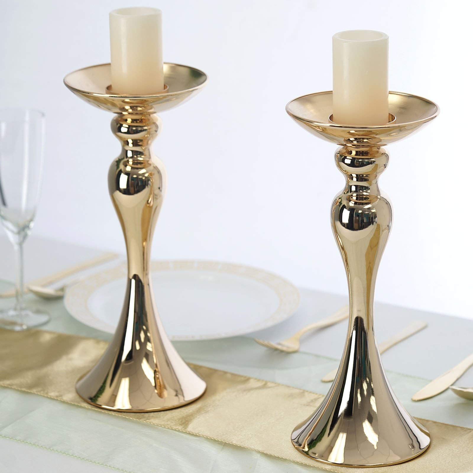 Efavormart 2 Pack Gold 12'' Tall Floral Stand Pillar Candle Holder Flower Feather Ball Centerpiece for Wedding Events Decoration