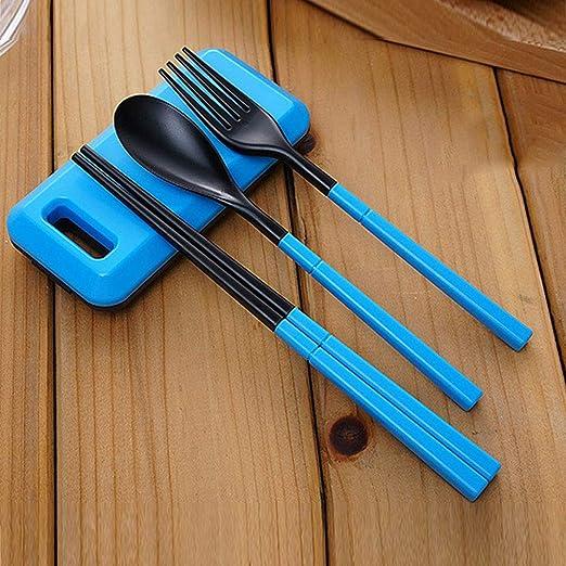3 in 1 ABS Pieghevole Tavola Posate Forchetta Bacchette Set con Box di Stoccaggio Esterna Kamp Escursione di Campeggio Viaggio Set da Tavola