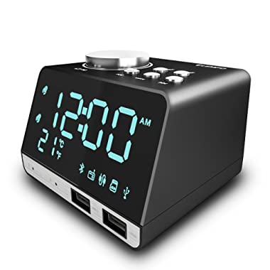 Clock Radio, LEMFO Alarm Clock FM Radio Bluetooth Speaker Digital Dual Snooze Clock  USB Charging Port Temperature LED Display Bedroom Dimmer with Battery Backup