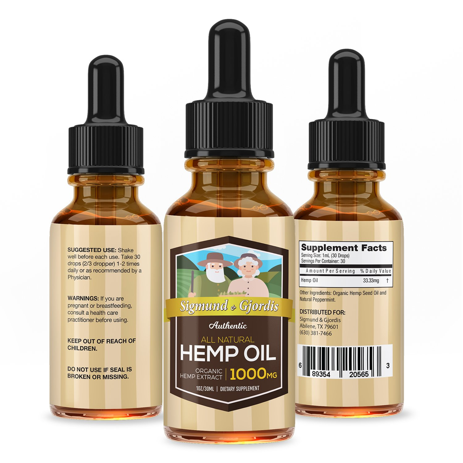 1000mg Hemp Oil Drops:: Potent, High-Quality Formula :: 100% Natural Ingredients :: Contains Omega 3 & 6 Fatty Acids:: 30 Day Supply : Sigmund & Djordis