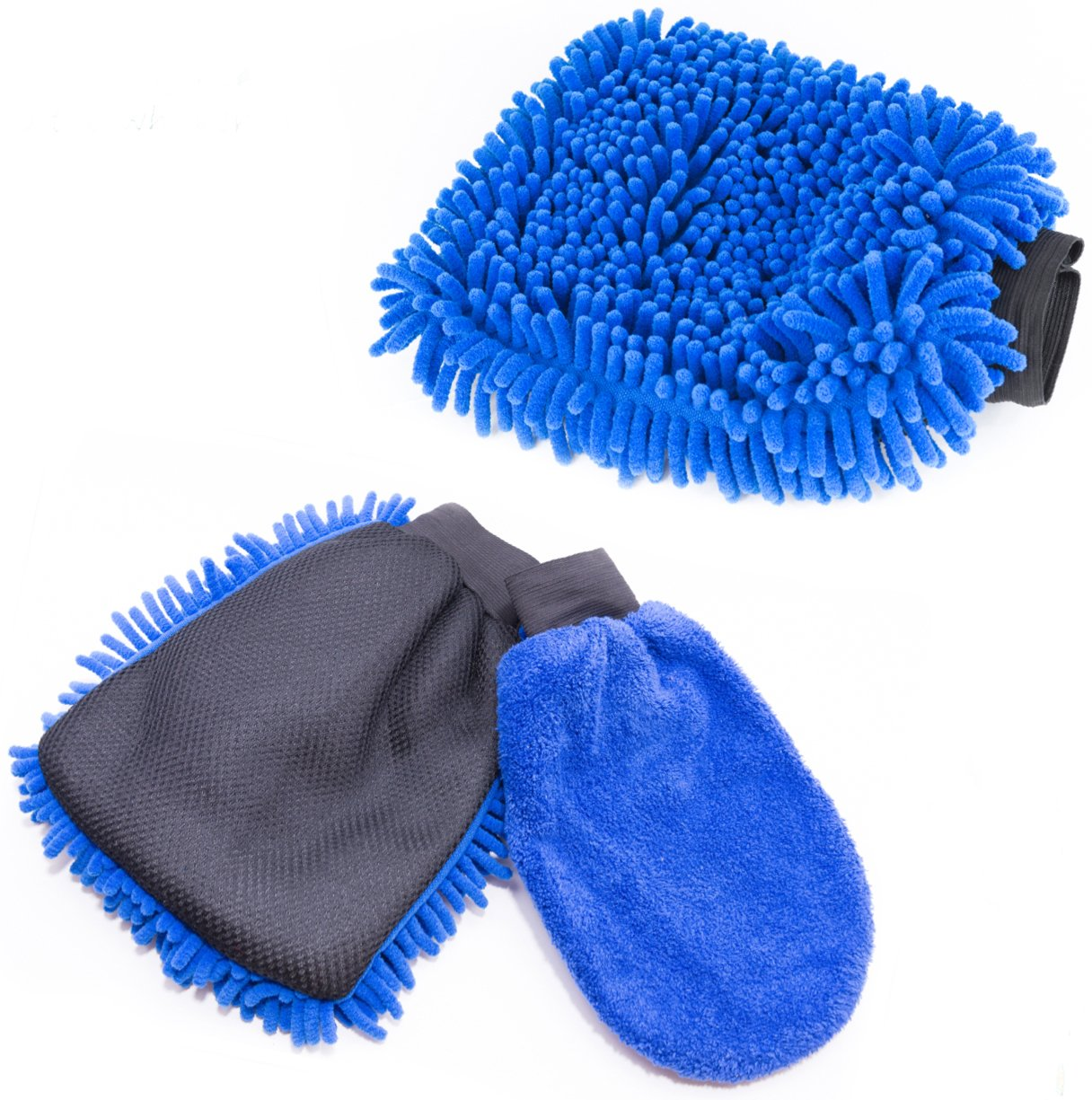 - Classic Car Accessories Gift Set Car Wash Mitt /& Duster Bonus Dust /& Dry Mitt Included 2 Blue Mitts Dual-Sided Microfiber Washing Glove with Non-Scratch Scrubber Sponge on the Other Side