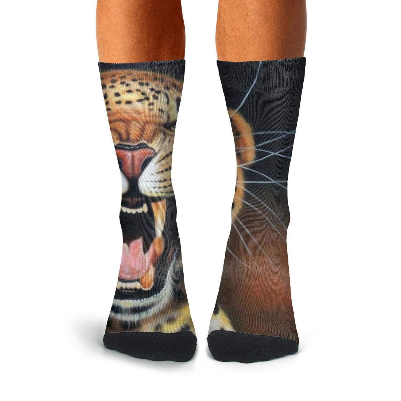 Knee High Long Stockings KCOSSH Angry Tiger Crazy Calf Socks Pattern Crew Sock For Men