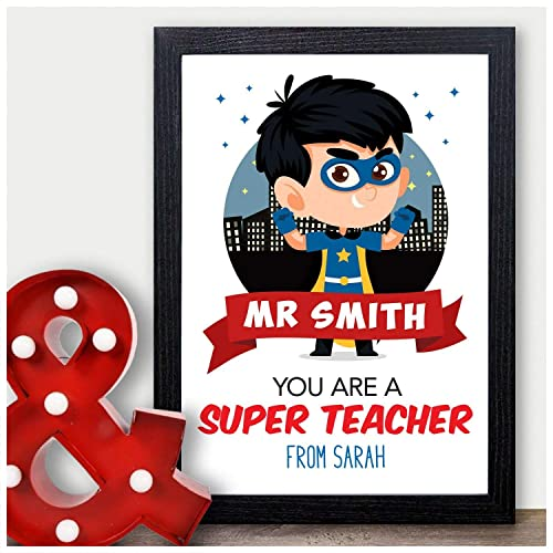 Thank You Teacher Gift Personalised Super Hero Gift for Male