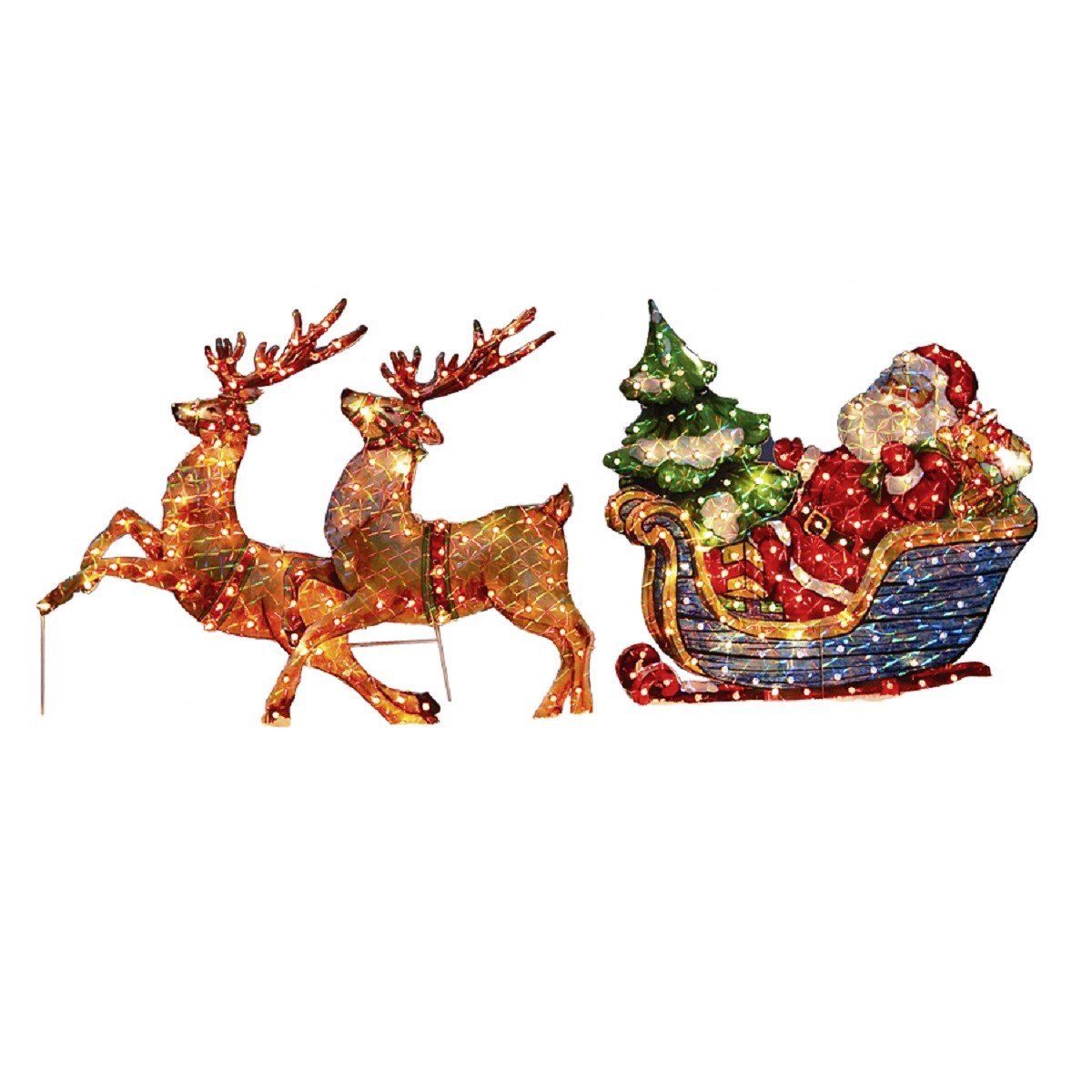 Holiday Traditional Holographic Bright Lighted Multicolored Santa In Sleigh W/Reindeer Majestic Outdoor Sculpture Decoration
