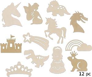 12 Fairy Princess Fantasy Themed Wood Cutouts Set for Girl's Bedroom Wall Decor DIY Craft Unicorns, Dragon, Castle, Crown, Dinosaur Rainbow Star Bundle of 12