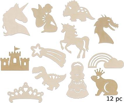 Amazon Com 12 Fairy Princess Fantasy Themed Wood Cutouts Set For Girl S Bedroom Wall Decor Diy Craft Unicorns Dragon Castle Crown Dinosaur Rainbow Star Bundle Of 12