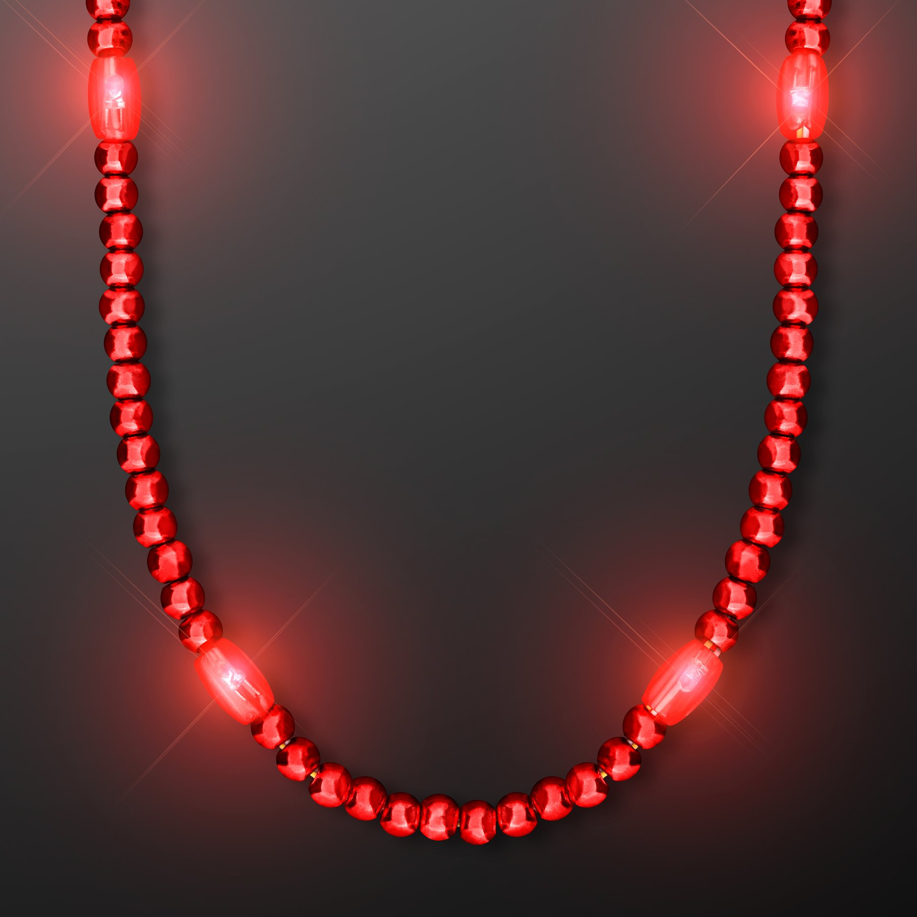 FlashingBlinkyLights Red Light Up LED Mardi Gras Bead Necklace (Set of 12)