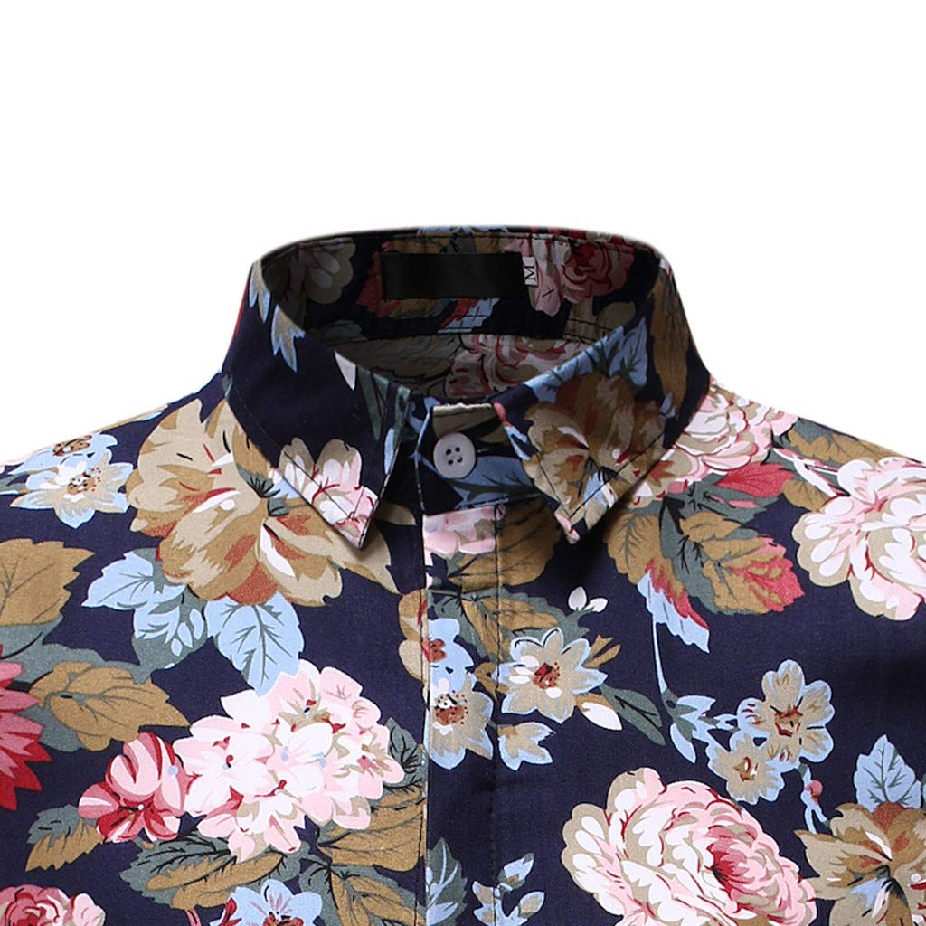 SKYLULU✿Fashion Mens Casual Cool Top Tee Casual Button Hawaii Print Beach Short Sleeve Quick Dry Top Blouse