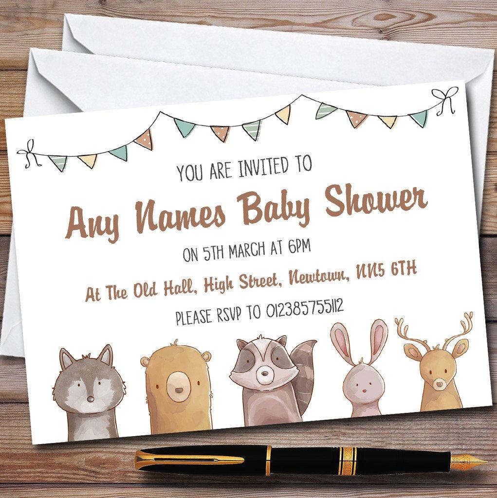 Forest Woodland Animals Invitations Baby Shower Invitations