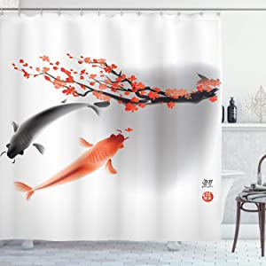 "Ambesonne Japanese Shower Curtain, Koi Carp Fish Couple Swimming with Cherry Blossom Sakura Branch Culture Design, Cloth Fabric Bathroom Decor Set with Hooks, 70"" Long, Orange Grey"