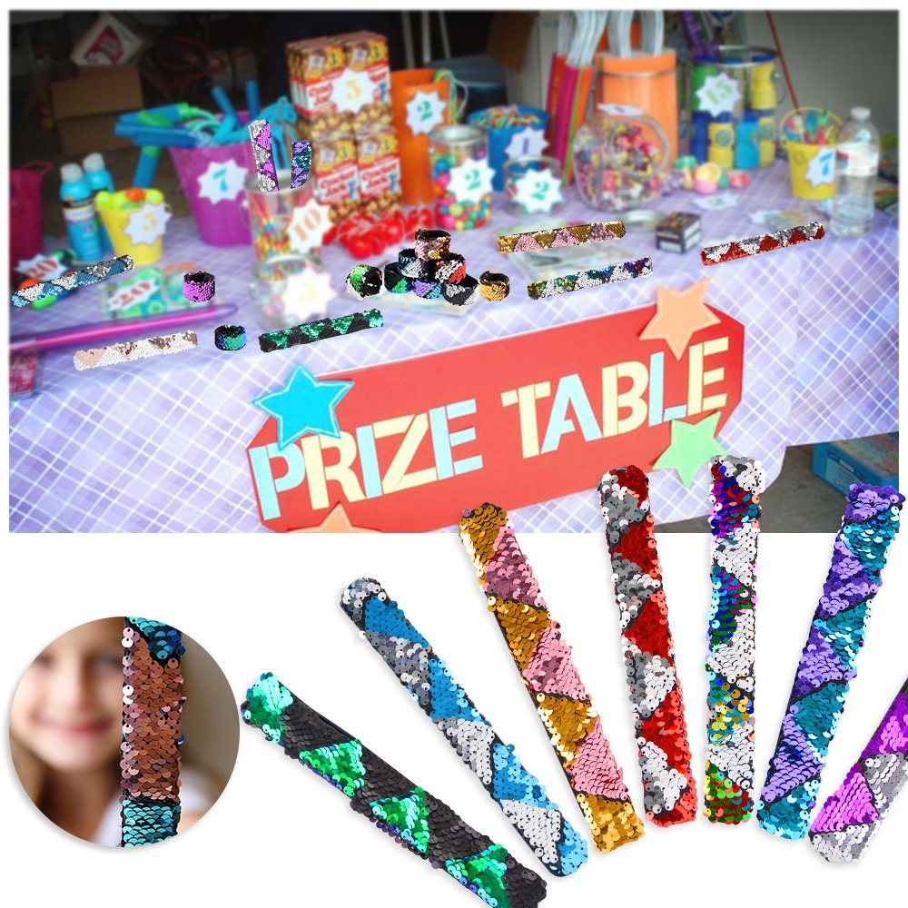 2-Color Reversible Charm Slap Bands Flip Magic Sequins for Kids Birthday Party Favors Supplies School Rewards Prizes Goodie Bags Fillers MOMOTOYS Mermaid Party Favors 18Pcs Slap Bracelets Wristband