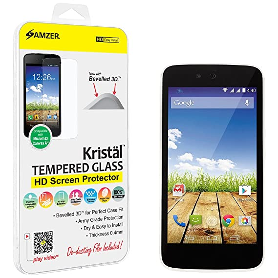 Amzer AMZ97414 Kristal HD Tempered Glass for Micromax Canvas A1 (Clear) Screen guards at amazon