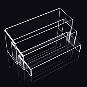 Goabroa Acrylic Display Risers, Clear Rectangle Stands Shelf for Display 6pcs