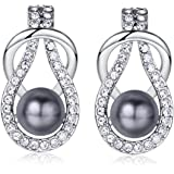 18k White Gold Plated Swarovski Elements Pearl Stud Earrings for Women