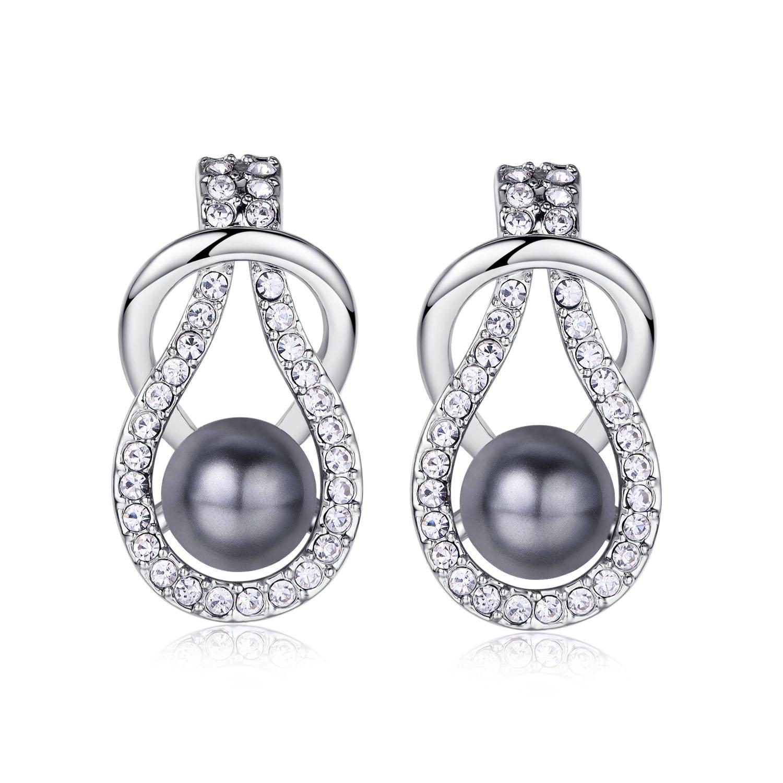 Amazon.com  18k White Plated Swarovski Elements Pearl Stud Earrings for  Women (Grey)  Jewelry 4f716214ba3a