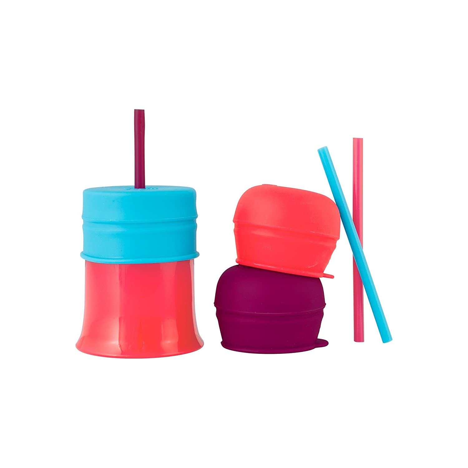 Boon SNUG Straw with Cup, Pink/Purple/Blue
